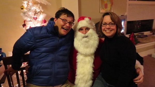 Oliver and Kari with Santa
