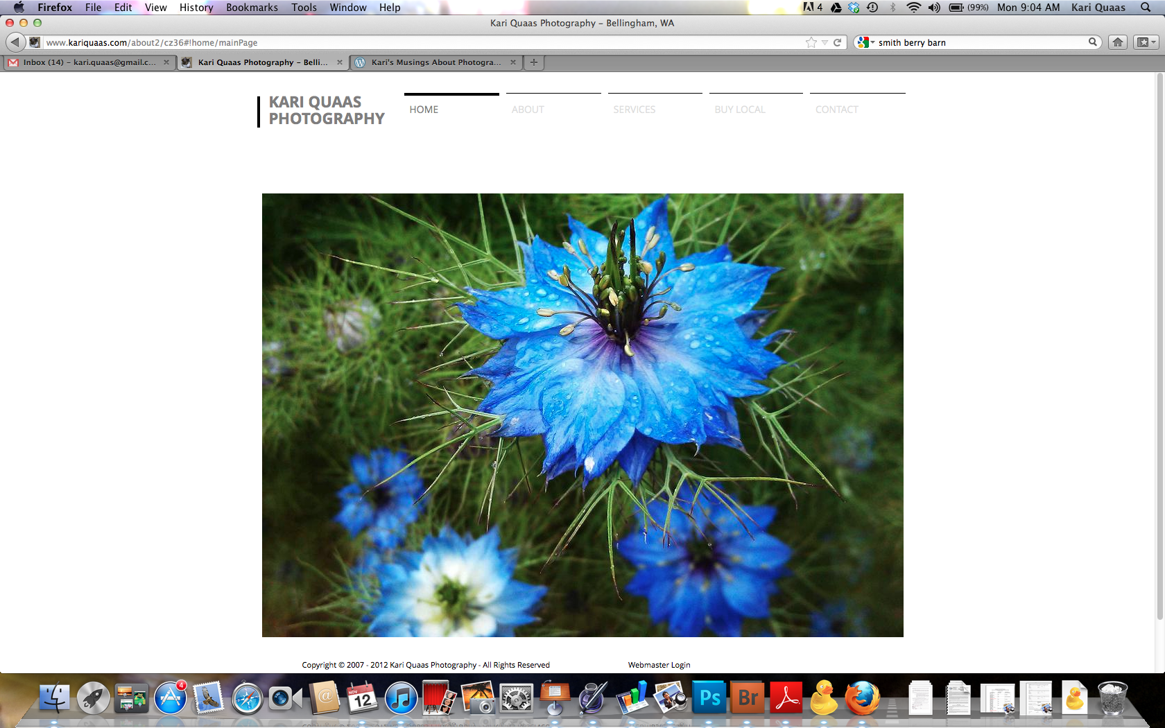 The new home page for my photography website.