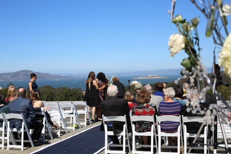 The scene of the ceremony at Inspiration Point in the Presidio of San Francisco.